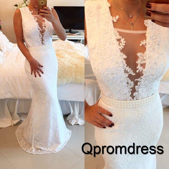 white lace V-neck chiffon Slim-line mermaid prom dress gown dress