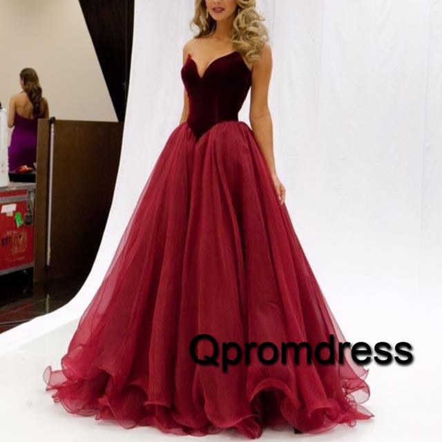 red sweetheart satin + tulle princess prom dress