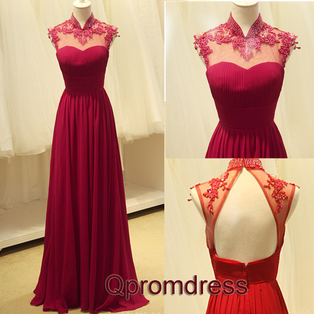 red chiffon long dress with bling