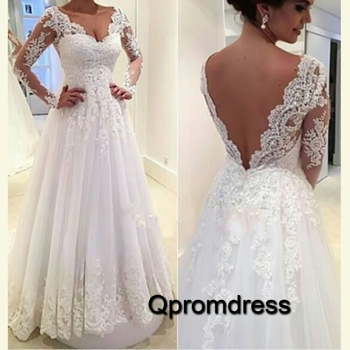 white lace long sleeves open back wedding dress prom dress