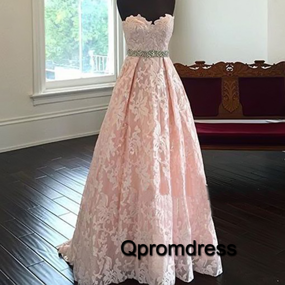 pink lace sweetheart princess prom dress
