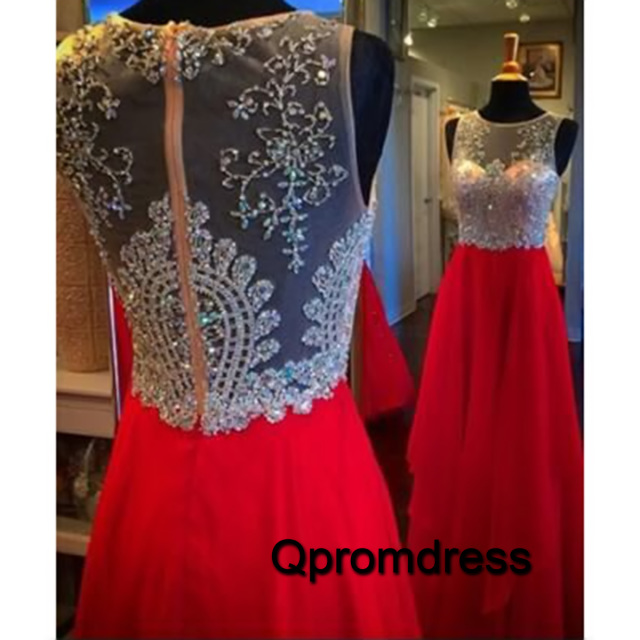 Halter Prom Dress Red Chiffron
