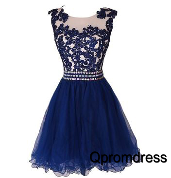 Cute round neck navy blue applique short prom dress, bridesmaid ...