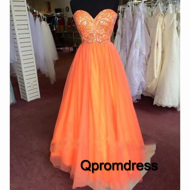 Cute Orange Tulle Sequins Long A Line Formal Prom Dresses
