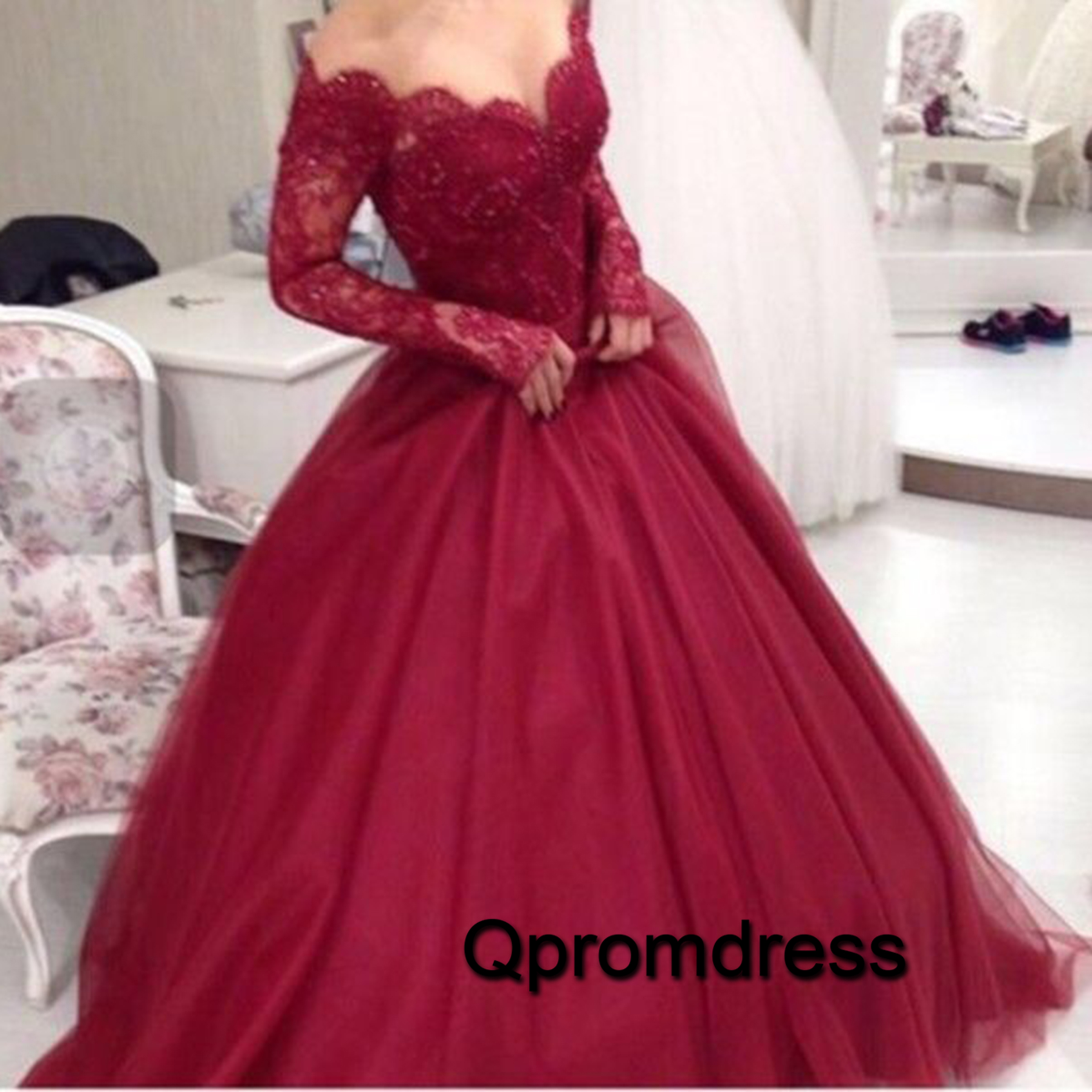 Red organza off shoulder long lace sleeves A-line big size ball gown ...