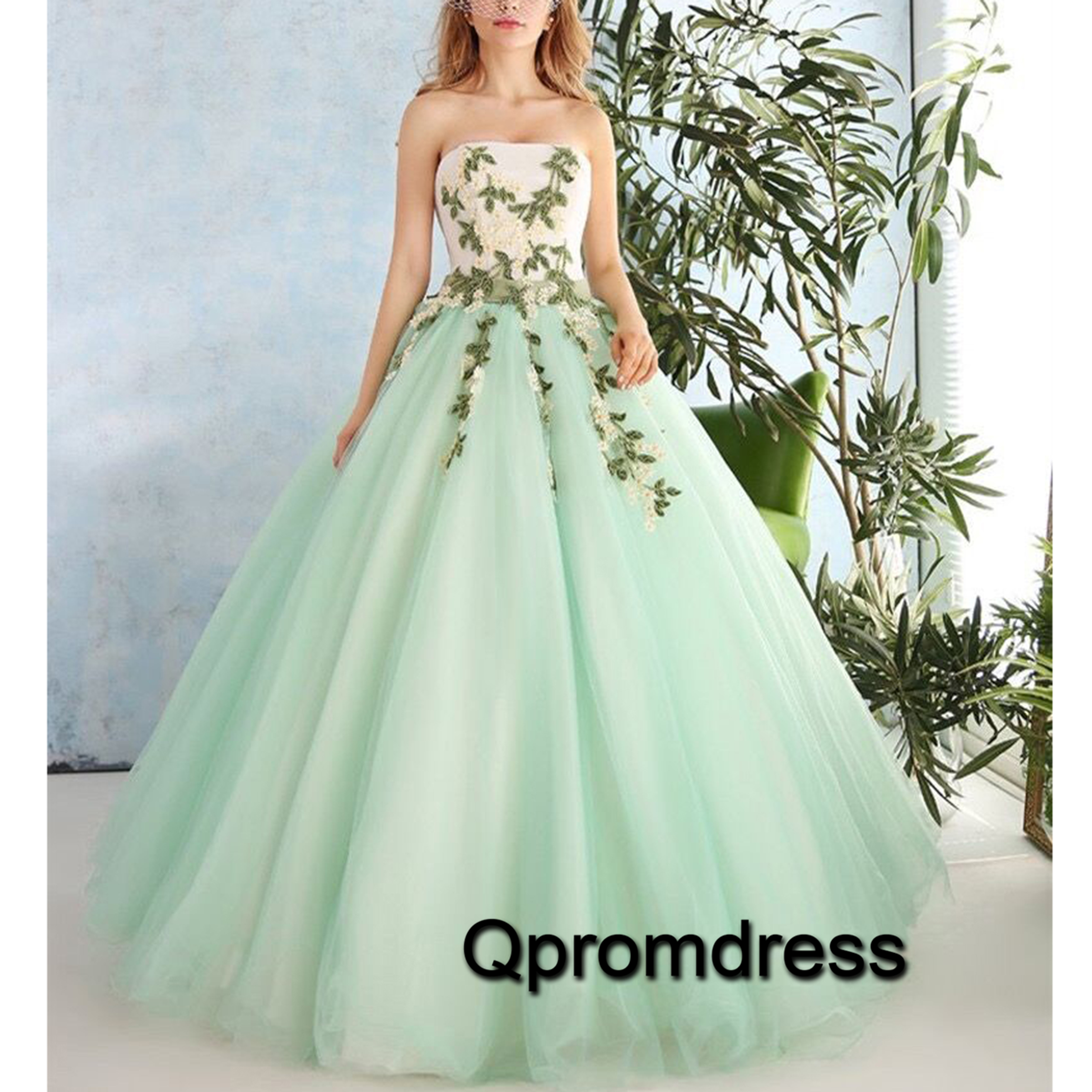Light green organza applique sweetheart princess ball gown dresses ...
